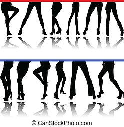 Las piernas de la mujer vencen siluetas