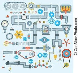 Las piezas de vector de maquinaria robótica establecen diseño automático de trabajo. Equipo mecánico de marcha parte motor técnico de la industria. Una herramienta de ingeniería de la industria mecánica