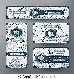 Las plantillas de vector de Identidad corporativa marcan el diseño con el tema del baño de garabatos
