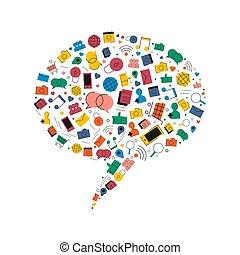 Las redes sociales hablan de iconos de chat de burbujas