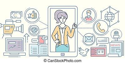 Las redes sociales, ilustraciones de diseño moderno
