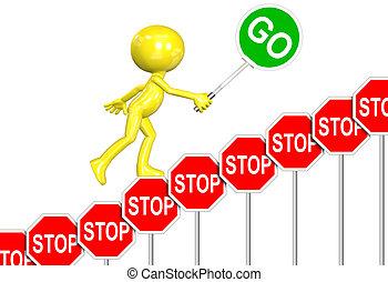 Las señales de stop van a firmar el progreso de 3D