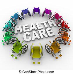 Las sillas de ruedas en el ring alrededor de las palabras de asistencia sanitaria