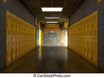 Las taquillas de las escuelas amarillas están sucias