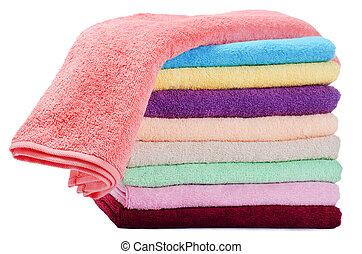 Las toallas de colores combinadas