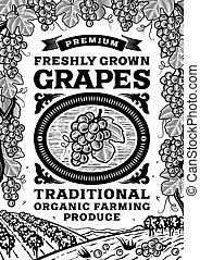 Las uvas retro afiches en blanco y negro