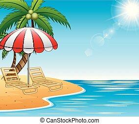 Las vacaciones de verano descansan en una hermosa playa