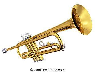 latón, trompeta, fondo blanco