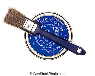 Lata de pintura azul con cepillo