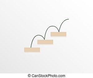 lata, geométrico, ser, illustration., infographic, simple, vector, visualización, elementos, desarrollo, plan., carrera, puesta en práctica, inicio, utilizado, logro