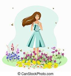 lata, primavera, niña, plantas, regar flores