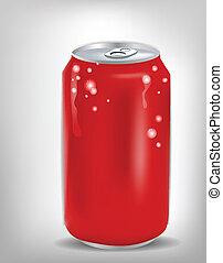 lata, rojo, soda