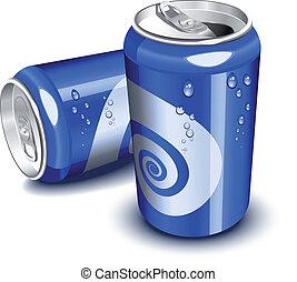 latas, azul, soda