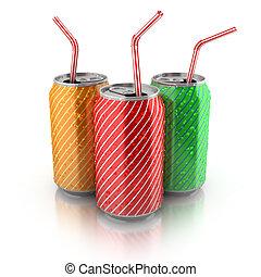 Latas coloridas de aluminio con pajitas