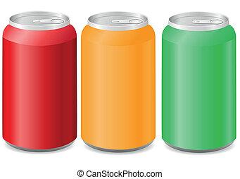 Latas de aluminio coloreadas con soda