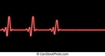 latido del corazón, fondo negro
