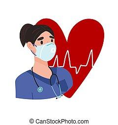 latido del corazón, protector, máscara, corazón, cardiograma, médico, face., enfermera, ella