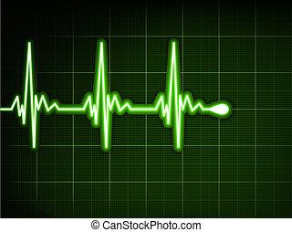 Latido del corazón verde. Ekg graph. EPS 8