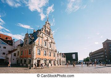 latvia., schwabe, ayuntamiento, antiguo, cuadrado, señal, casa, touristic, showplace, histórico, riga