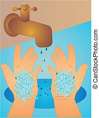 Lavándose las manos limpias