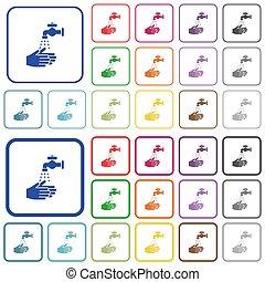 lavado, color, iconos, mano, plano, contorneado