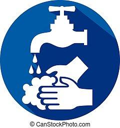 lavado, icono, su, plano, manos, por favor