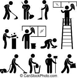 lavado, limpio, aspiradora, trabajador