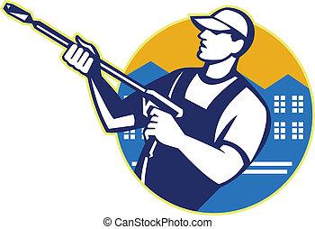 lavado, potencia, blaster, trabajador, presión del agua