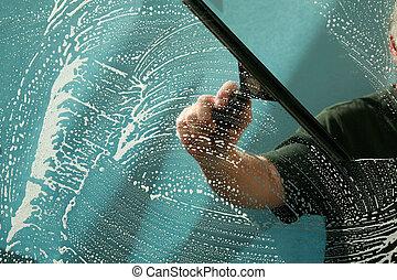 lavado, ventana que limpia