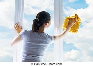Lavando ventanas