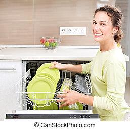 Lavaplatos. Una joven en la cocina haciendo tareas domésticas.