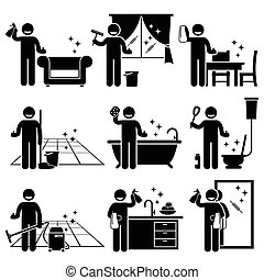Lavar y limpiar la casa