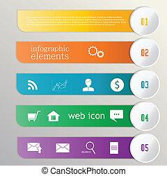 Lazo Banner. Información de elementos. iconos web