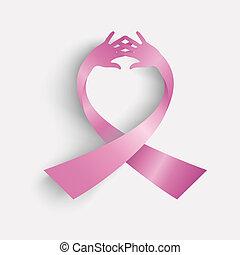 Lazo de conciencia del cáncer de pecho hecho con manos humanas. El archivo de vector EPS10 organizado en capas para la edición fácil.