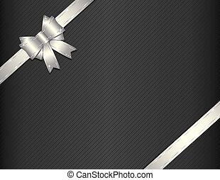 Lazo de regalo de plata con papel de regalo