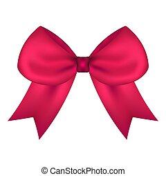 Lazo de regalo rosa de cinta aislada en blanco
