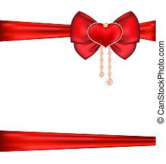 Lazo rojo con corazón y perlas para el regalo de San Valentín