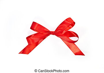 Lazo rojo de lazo con colas aisladas