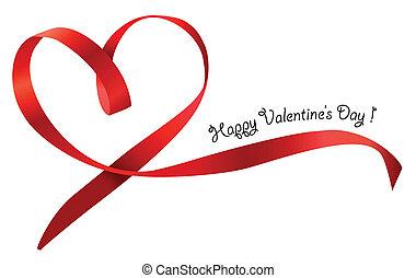 Lazo rojo del corazón aislado en el fondo blanco. Vector