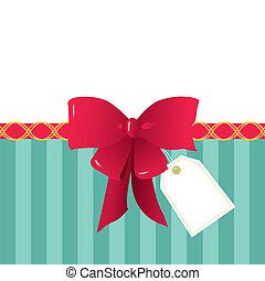 Lazo rojo, lazo de regalo y una etiqueta