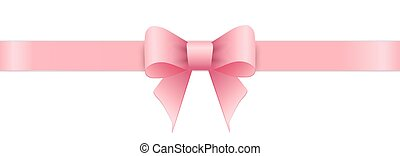 Lazo rosa sobre fondo blanco. Día de San Valentín.