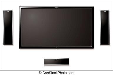 lcd, televisión, altavoces