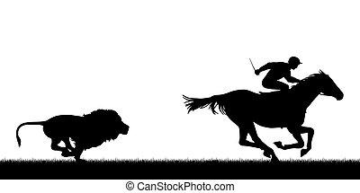 León persiguiendo a caballo de carreras