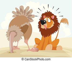 León y avestruz