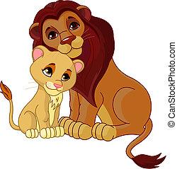 León y cachorro juntos