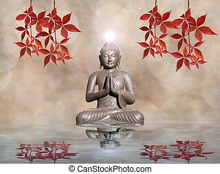 leafs, aislado, espiritual, budha, plano de fondo, estatua, meditación, color