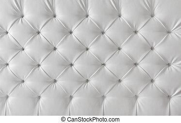Leather tapstery White Sofa textura, patrón de fondo