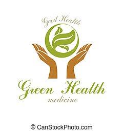 leaves., extracto verde, tenencia, rehabilitación, manos, médico, cuidado, logo., primavera
