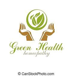 leaves., logo., rehabilitación, médico, cuidado, primavera, resumen, tenencia, verde, manos