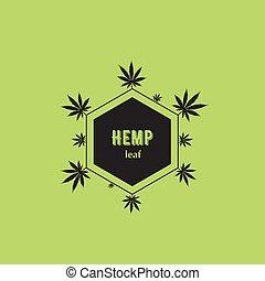 leaves., logotipo, negro, cannabis, el consistir, vector.
